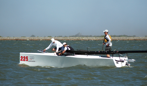 Another one bites the dust; this time it's a Melges 20 beyond the Antioch Bridge. ©2012 norcalsailing.com